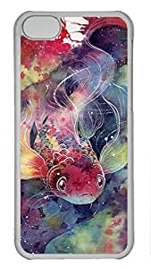 Artsy Transparent PC Case Shell for iPhone 5C,Hard Plastic Case Back Cover with Kio Fish Art Painting Printed
