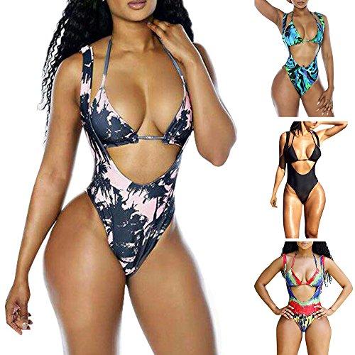 iBaste Bikini Mujer,Impresión Digital Trajes de Baño Bañadores de una Pieza Rosa