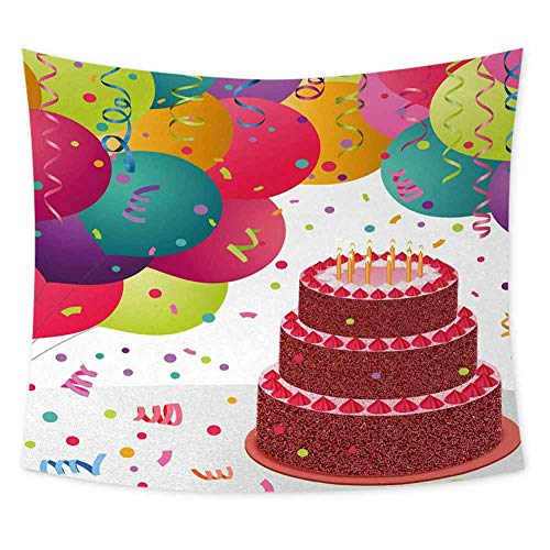 Grateful Dead Birthday Cake (jecycleus Birthday Grateful Dead Tapestry Strawberry Triplex Cake with Candles Ribbons Balloons Newborn Celebration Theme Trippy Tapestry Wall Decor W62.8 x L62.8 Inch)