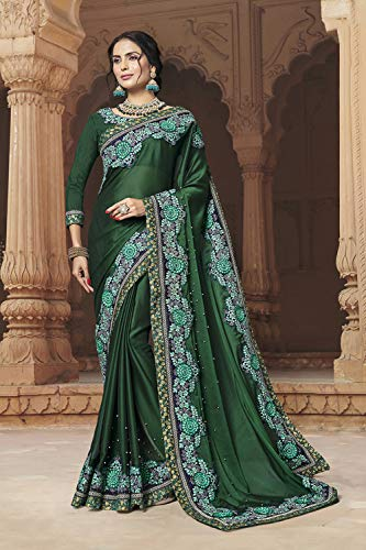 Sarees Traditional Sari Indian Women Wear For Green Party Designer dpBYAq