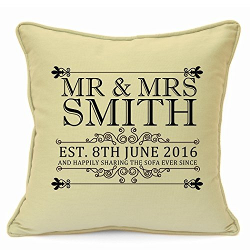 Personalised Presents Gifts for Wife Husband Him Her Wedding Anniversary Valentines Day Wedding Day Mr & Mrs 1St 25Th 50Th Years Golden Ruby Cushion Cover 18 inch 45 cm Living Room Bedroom Home Decor GOODcase