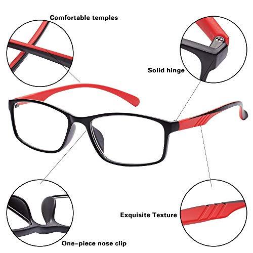 EFE 4 Pack Classic Reading Glasses, Lightweight Wayfarer