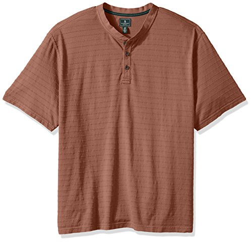 G.H. Bass & Co. Men's Big and Tall Jack Mountain Short Sleeve Texture Stripe Henley Shirt