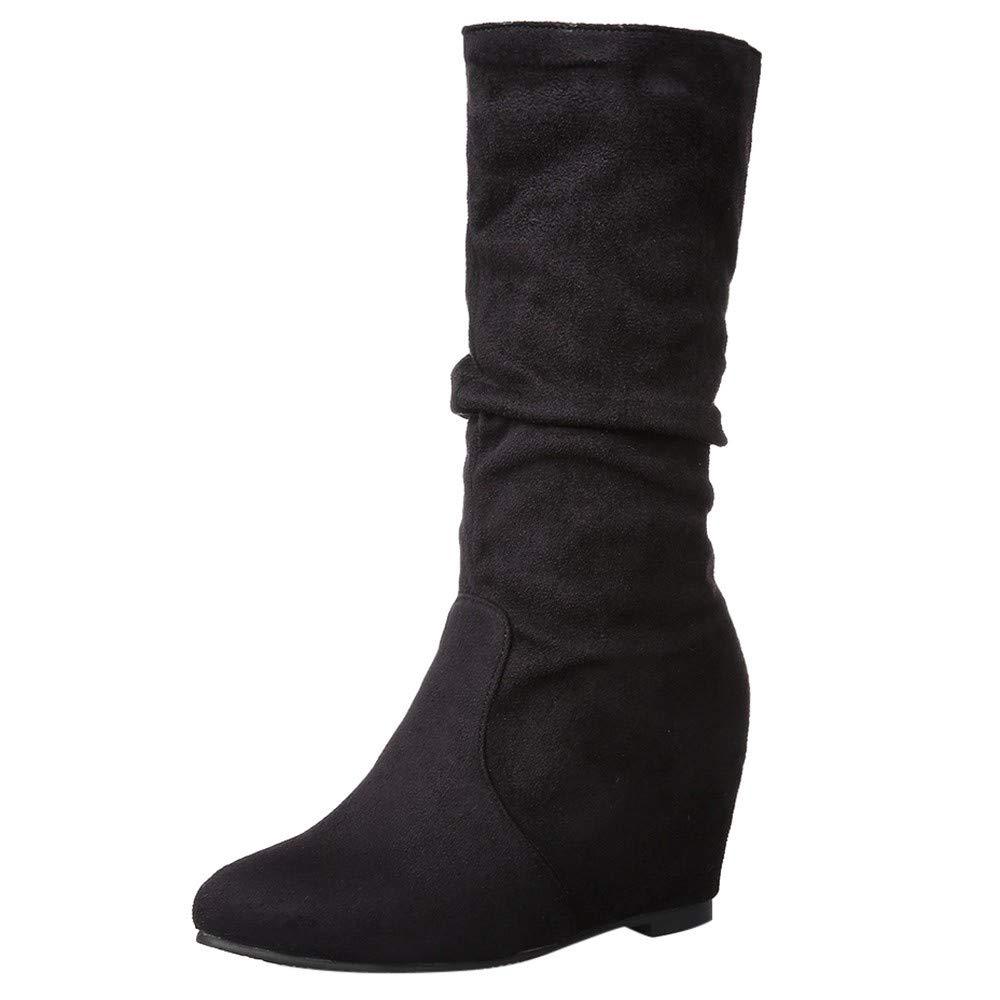 Kauneus Womens & Girls Slouchy Wonda Boots Soft Flat to Low Heel Under Knee High Black