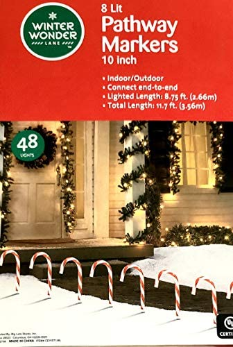 Pre-lit Candy Cane Pathway Markers Stakes 10 Tall Set of 8