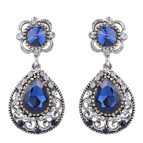 BriLove Women's Vintage Inspired Crystal Floral Teardrop Hollow Infinity Pierced Dangle Earrings Sapphire Color Antique-Silver-Tone (Floral Ring Sapphire Inspired)