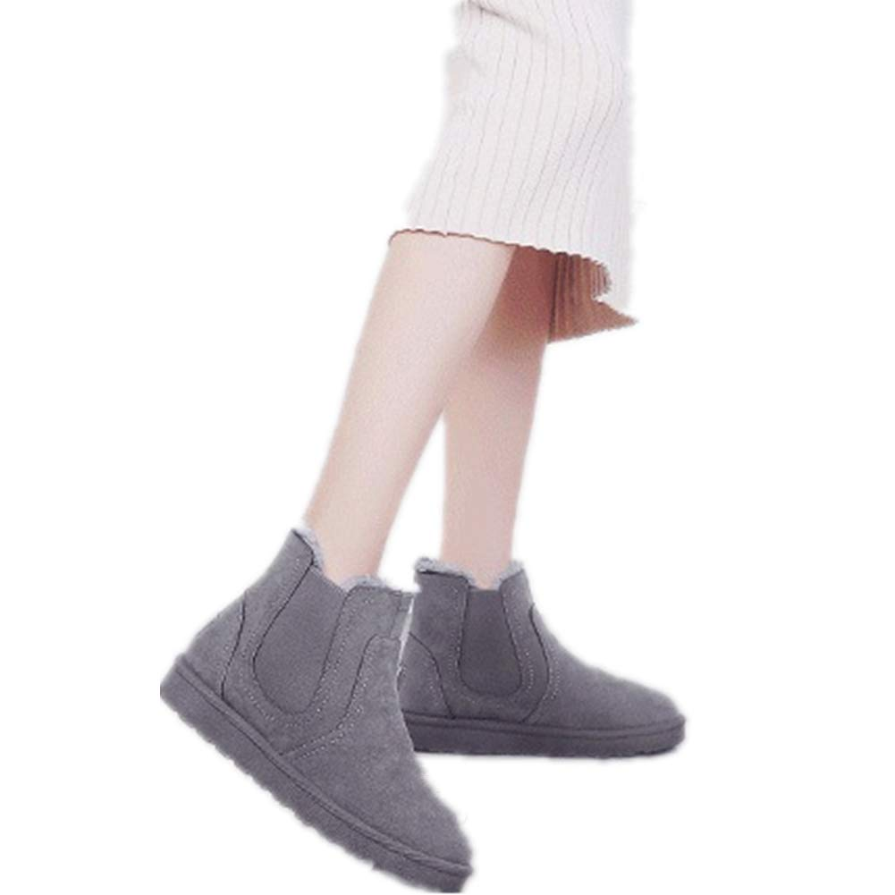 Grey, US 8 Smile-YZ /New Winter Fashion Warm Ankle Pull-on Snow Boots for Women