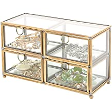 MyGift Vintage Clear Glass & Brass Metal 4 Drawer Display Box/Dresser Top Jewelry Storage Organizer