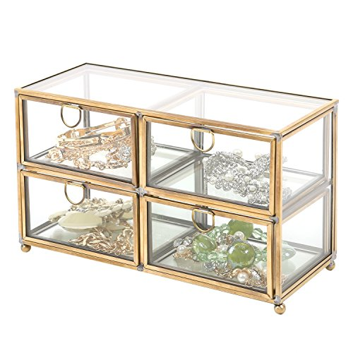 (MyGift Vintage Clear Glass & Brass Metal 4 Drawer Display Box/Dresser Top Jewelry Storage Organizer)