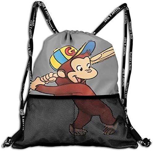 おさるのジョージ ナップサック アウトドア ジムサック 防水仕様 バッグ 巾着袋 スポーツ 収納バッグ 軽量 バッグ 登山 自転車 通学・通勤・運動 ・旅行に最適 アウトドア 収納バッグ 男女兼用 ジムサック バック