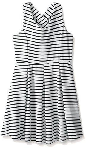 Zunie Big Girls' Sleeveless Knit Pleated Dress with Bow Back, White/Black, 12 (Dress Knit Pleated)