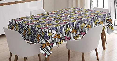 White Monarch Tablecloths - Butterfly Tablecloth Linen Decor Table Cover for Kitchen Dinning Room Rectangle Oblong Tablecloths 60 W X 90 L Inch, A Colony of Colorful Monarch Butterflies on Black and White Horizontal Lines