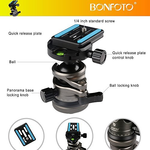 Camera Tripod ,BONFOTO Carbon Fiber Travel B674C Tripod Lightweight Heavy Duty Portable with 1/4'' Quick Release Plate 360 Degree Ball Head and Carry Case for Canon Sony Nikon DSLR Cameras by BONFOTO