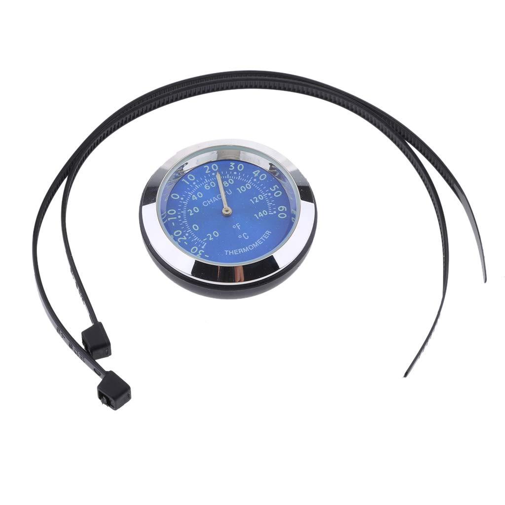 Blue Baosity Universal Motorcycle Bike Handlebar Mount Temperature Thermometer Meter Waterproof Plastic Base Glass Lens
