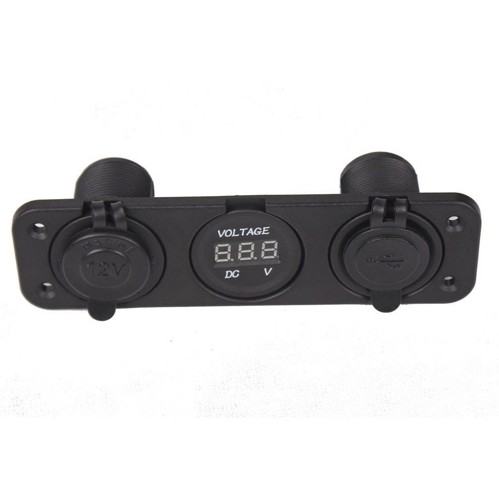 SODIAL(R) Tripla 3.1 Amp USB Charger + voltmetro V Socket Pannello +12 Marine uscita Jack 042533