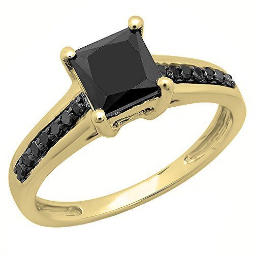 (Dazzlingrock Collection 1.60 Carat (ctw) 14K Princess & Round Black Diamond Bridal Engagement Ring, Yellow Gold, Size 7)