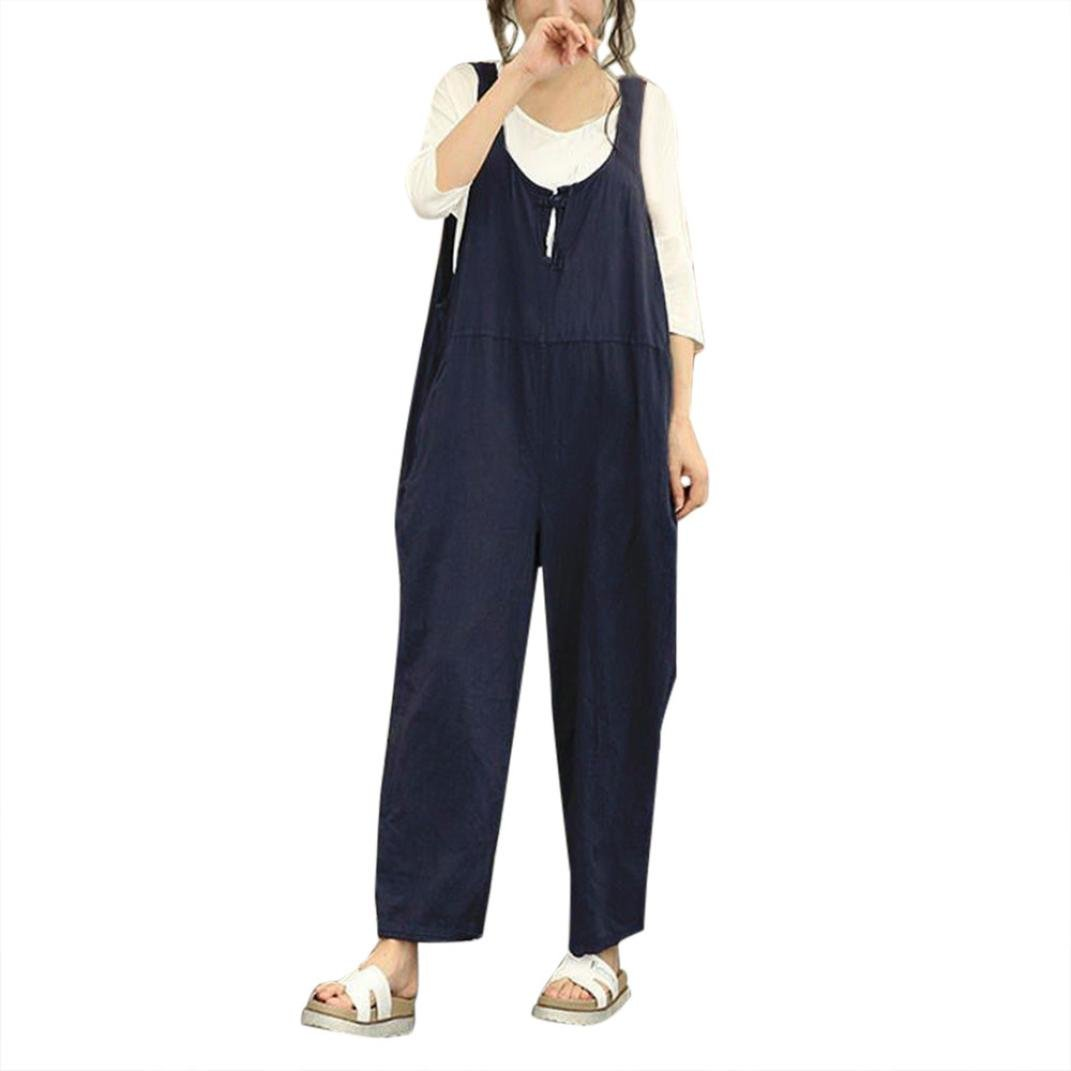 Womens Casual Sleeveless Dungarees Loose Cotton Linen Bib Baggy Overalls Jumpsuit Pants Plus Size Romper (XL, Navy)