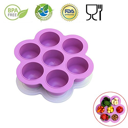 Serving Liner Tray Small (7 Holes Silicone Cooker Egg Cake Bake Molds for Instant Pot Accessories - Fits Instant Pot 5,6,8 qt Pressure Cooker, Reusable Storage Container and Freezer Tray with Lid, Baby Food container. Purple)