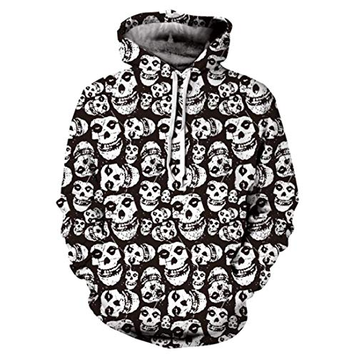 """Price comparison product image Aurorax-Clearance Mens Hoodies Sweatshirt for Halloween, Casual Lightweight Long Sleeve Coat Skull 3D Printed Pullover Tops (Black,  3XL=Bust:49.6"""")"""