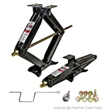 "Set of 2 ""PEAKTOW"" 5000 lb. 24"" RV Trailer Stabilizer Leveling Scissor Jacks W/Handle & Power Drill Socket & Hardware - PTJ0602"