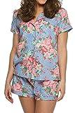 Cotton Floral Pajama Set Style CPJ1, Blue, M