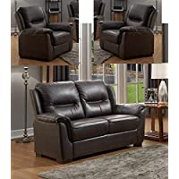 SC Furniture Ltd Chocolate Brown High Grade Genuine Leather 3 Seater Sofa 2 Seater Leather Sofa Armchair Suite NEW YORK