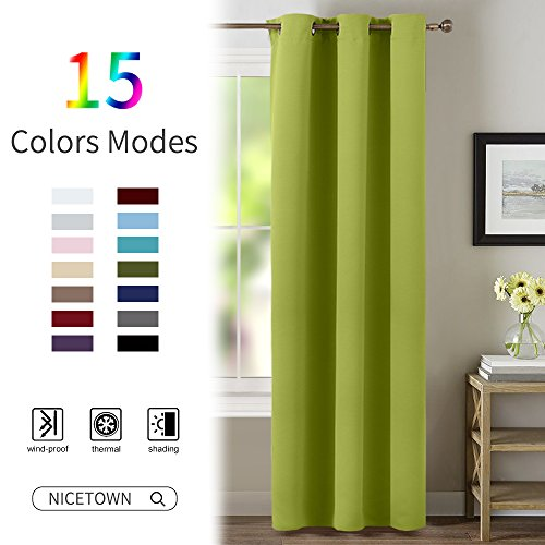 Green Curtain for Bedroom 84 inches - NICETOWN Window Treatment Thermal Insulated Solid Grommet Blackout Drapery / Drape (1 Panel, 42 wide by 84 Long, Fresh Green) - Glass Green Panel