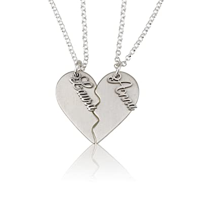 0c685d8713 BFF Necklace Couple's Breakable Heart Pendant -Personalize with Any Two  Names (sterling-silver