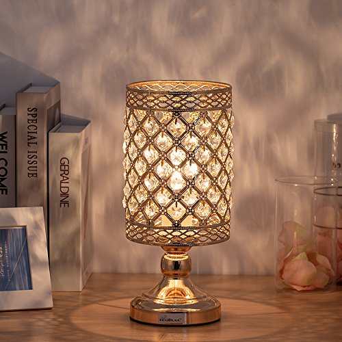 HAITRAL Crystal Table Lamp - Modern Gold Nightstand Desk Lamp with Beads Lampshade Metal Base Stylish Bedside Lamps for Bedroom, Living Room, Coffee,Dresser Table, Ideal Gifts (BD028)