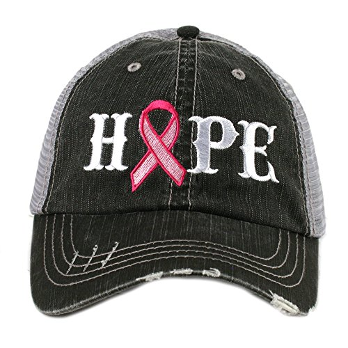 Cancer Awareness Trucker Hat (Hope Pink Ribbon Breast Cancer Awareness Women's Trucker Hat Cap by Katydid)