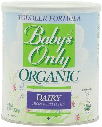 Bebé niño sólo orgánica fórmula, lácteos plancha botes fortificadas, 12,7 onzas (paquete de 3)