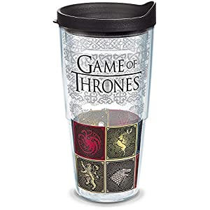 Tervis 1317849 HBO Game of Thrones - House Sigils Insulated Travel Tumbler with Wrap & Lid, 24 oz - Tritan, Clear