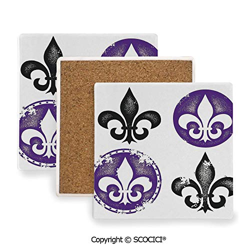 Coaster For Drinks With Vibrant Colors And Cork Backing, Ceramics with cork bottom, Square area coaster,Fleur De Lis Decor,Collection of Fleur De Lis Designs,3.9