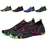 Leaproo Men Women Water Shoes Aqua Socks Barefoot Swim Yoga Surf Shoes for Beach Pool Diving Walking Black/rose-41