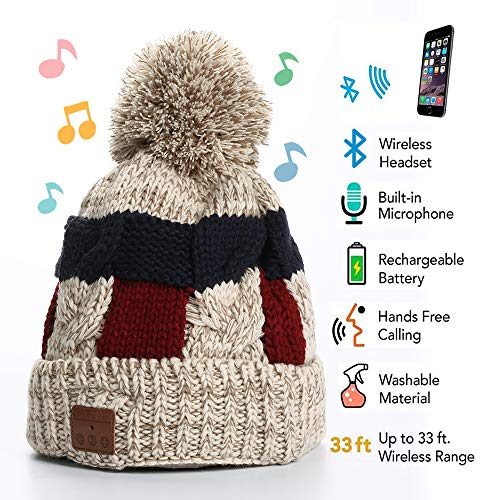 Wireless Headphone Beanie, Bluetooth Beanie, Bobble Hat Bluetooth beanie Cap, Winter Hat with Pom Pom, Gifts for Christmas Day, Gifts for Birthday Day