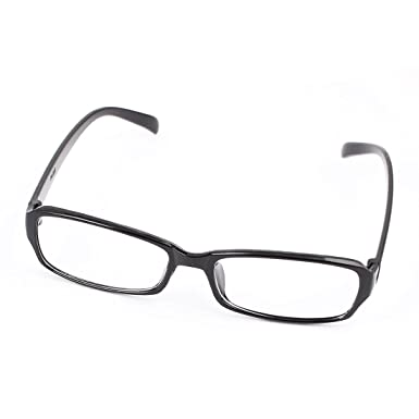 0c959895701 Unisex Plastic Frame Arms Clear Rectangle Lens Plain Glasses Black  Amazon. co.uk  Clothing