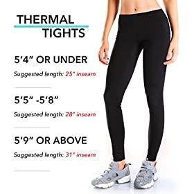 - 51LVTfIX8vL - Yogipace Petite/Regular/Tall,25″/28″/31″,Women's Water Resistant Fleece Lined Thermal Tights Winter Running Cycling Skiing Leggings with Zippered Pocket