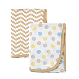 Luvable Friends 2 Piece Cotton Receiving Blankets, Tan Dots