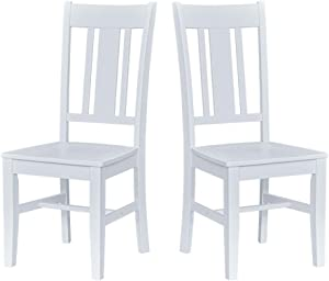 "Ravenna Home Classic-Style Solid Pine Dining Chair, 40""H, White Finish, Set of 2"