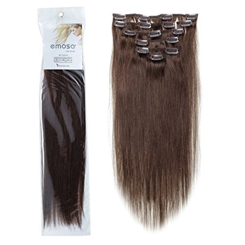 - Emosa #4 22'' 7Pcs 70g Remy Clips in Human Hair Extensions 04 Medium Brown 70g for Women's Beauty Hair Salon in Fashion Dark Brown