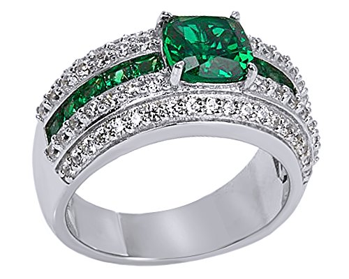 2.6 Ct Green (2.6 Ct Simulated Green Emerald With CZ Engagement Band Ring In 14K White Gold Over Sterling Silver)
