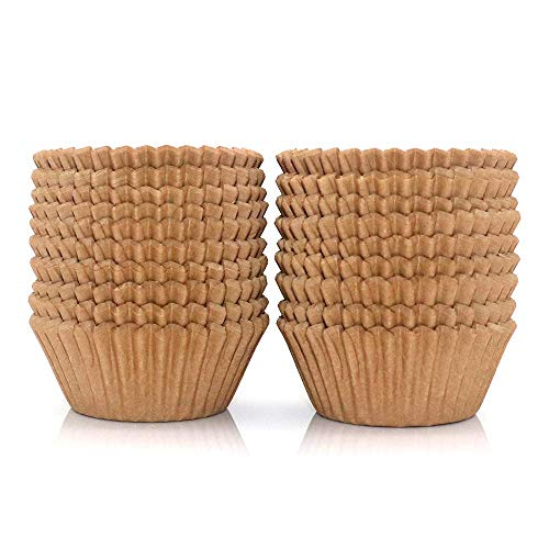 300Pcs Cupcake Liners Natural Muffin Liners Greaseproof Paper Baking Cups Standard Size Parchment Paper Cupcake Liners for Baking Muffin and Cupcake, Natural Color