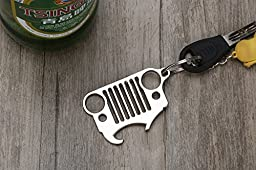 Fontic Jeep Grill Key Chain with Bottle Opener function - Heavy Duty Laser-Cut 304 Stainless Steel Keychain with Integrated Bottle Opener for Beer & Soda Bottles,Jeep Wrangler Accessories Enthusiasts