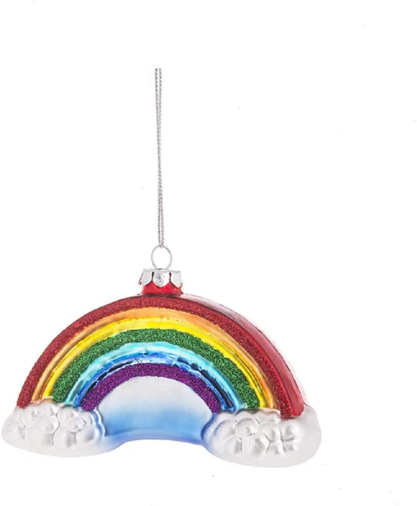 Midwest Seasons Glass Rainbow Glitter Bling Clouds Pride Christmas Tree Ornament