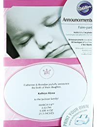 Wilton Pink Little Princess Baby Girl Birth Announcements 50 Sets BOBEBE Online Baby Store From New York to Miami and Los Angeles