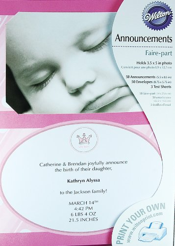 Wilton Pink Little Princess Baby Girl Birth Announcements 50 Sets
