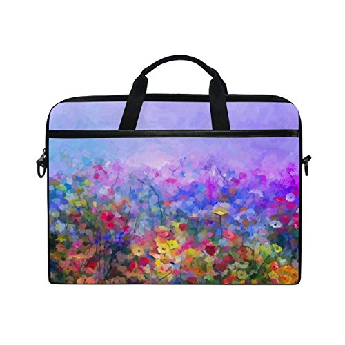 YQINING Laptop Bag Fits 15 Inch or 15.4 Inch Laptop Tablet Computer Colorful Oil Painting Wildflowers Briefcase Shoulder Messenger Bag for Men and Women