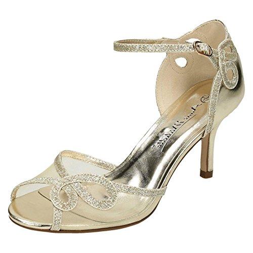 Anne Michelle Ladies Mid Heel Sandals Gold tQ6gmAwW