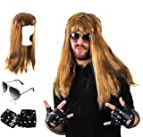 Tigerdoe Rocker Costume - 80s Costumes for Men - Heavy Metal Wig - (3 Pc Set) by