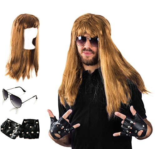 Tigerdoe Rocker Costume - 80s Costumes for Men - Heavy Metal Wig - (3 Pc Set)